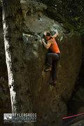 Rock Climbing Photo: Ann Raber dials in the crux