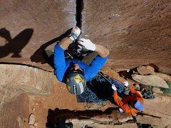 Rock Climbing Photo: Ryan leading Coyne Crack.  Mon 14 Apr 2014.