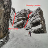 Here is the little nook that is the approach to the top. There is a ladder up to the right, or safer some WI2+ on the left to lead. The pitch Is about 30m.