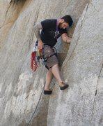 Rock Climbing Photo: Placing first C4 10' up.