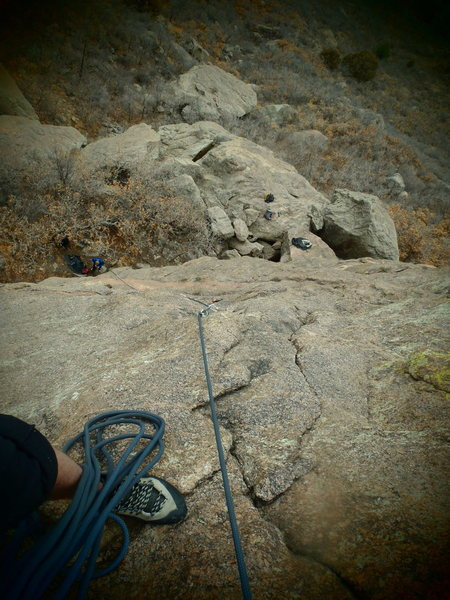 Rock Climbing Photo: James rapping down.