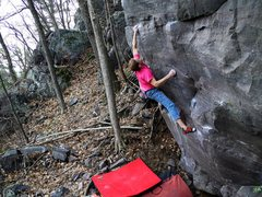 Rock Climbing Photo: Crux move on Beautiful Soup/Split Key Soup.  Photo...