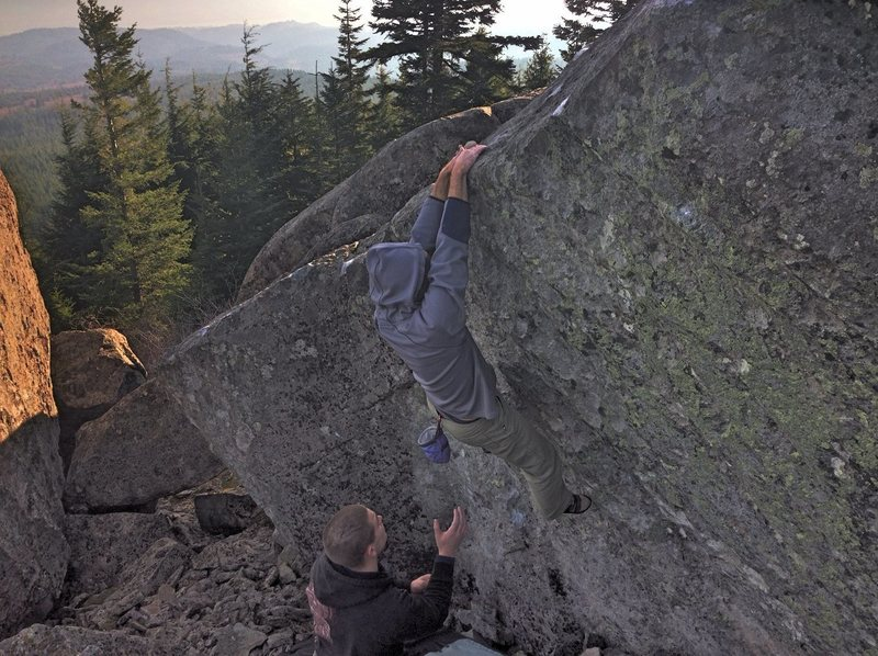 Rock Climbing Photo: Hans on one of the best traverses in Washington!