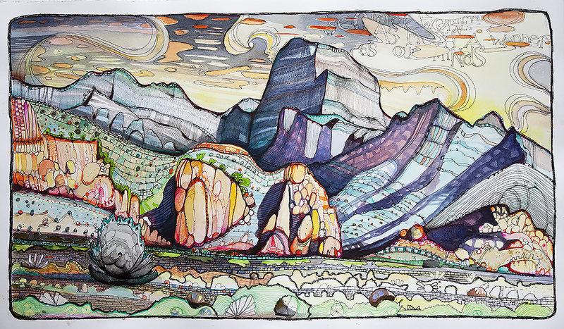 "Rock Climbing Photo: House Range - 22"" x 13"" - pen/watercolor"