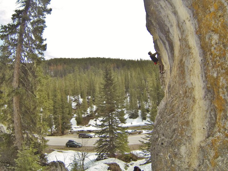 Reggie eats up Frosted Flake, 5.10b<br> The Ice Box, Spearfish Canyon.<br> <br> Picture taken in mid April.