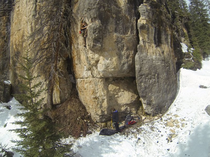 Reggie climbing The KlonDyke, 5.10a<br> Ice Box. Spearfish Canyon.