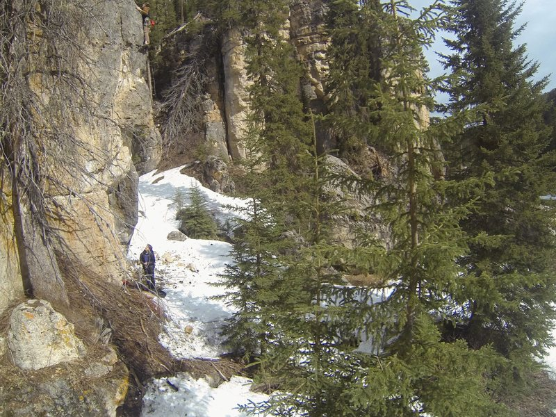 Reggie on the arete.<br> The KlonDyke, 5.10a<br> Ice Box. Spearfish Canyon.