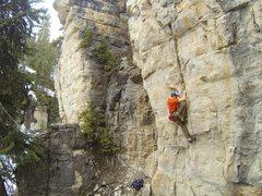 Rock Climbing Photo: Reggie stacks up Ice Blocks, 5.11a
