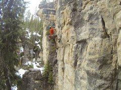 Rock Climbing Photo: Reggie knocks down Ice Blocks, 5.11a