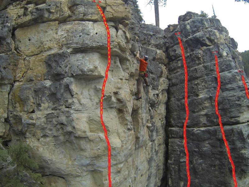 Ice Box routes in The Alcove:<br> <br> From left to right:<br> <br> Jumping Jack Frost, 5.11c<br> <br> Climber is on Ice Blocks, 5.11a<br> <br> Ice Buckets, 5.8+<br> <br> The Shivering Sphincter, 5.10c<br> <br> Nippin' Out, 5.12a