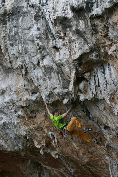 Climbing into the very steep crux. April 2014. Fred Berman photo.