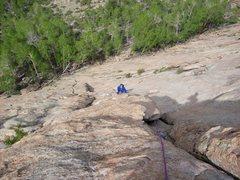 Rock Climbing Photo: Marty following 2nd pitch of HC on Davis Face. Jun...