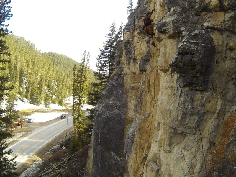 Lee at home in The Fro Zone, 5.10d.<br> Ice Box Rocks!<br> Spearfish Canyon, South Dakota.