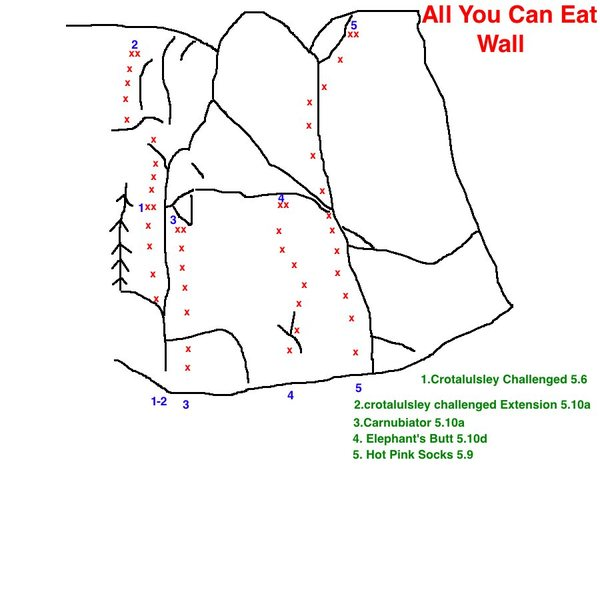 Two new fun routes on the All You Can Eat Wall.