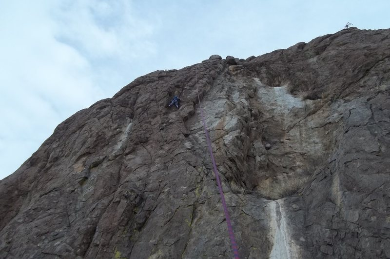 Rock Climbing Photo: Carrie Robertson top roping the second pitch.