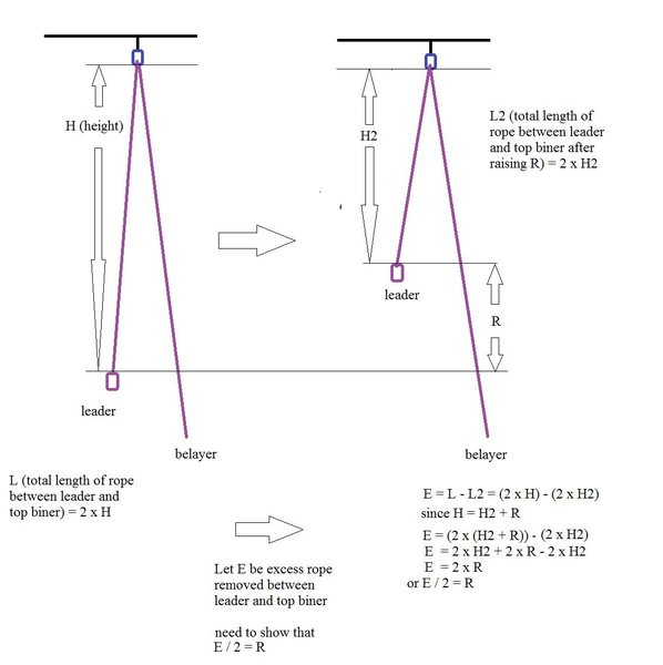 The free-body diagram with algebraic proof (was finished with this before seeing it is not necessary to make the point that leader pulling down 2 feet of rope raises him/her 1 foot)