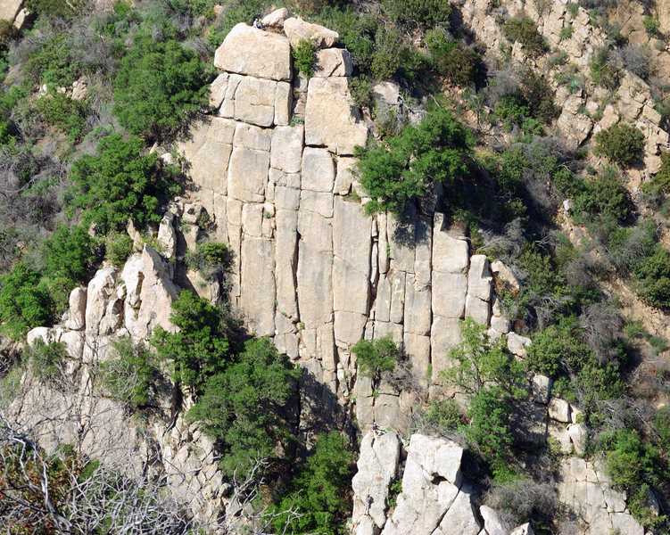 Wall 3 Tower and some of the lower right & left flanks. (Note team on top and also climbers on the bottom, right of center.) Photo by Jan Roestel.