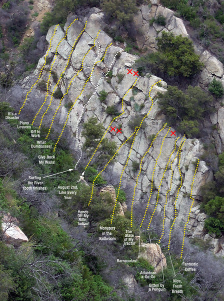 Rock Climbing Photo: Most of the key routes on Wall 2.
