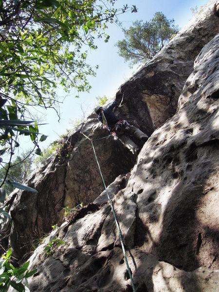 Rock Climbing Photo: Alex Lau negotiating the overhanging bulge crux on...