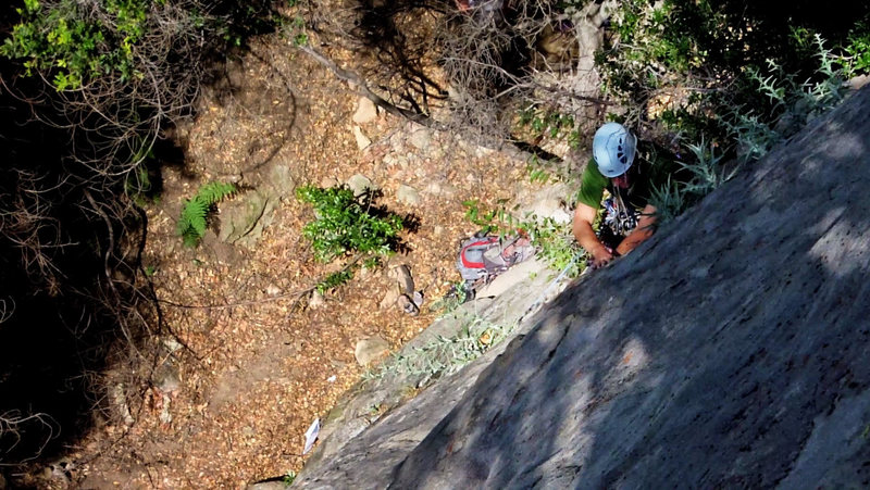 Rock Climbing Photo: Ches in the middle of some serious gardening on th...