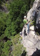 Rock Climbing Photo: Great anchor-building options at the top. Chris Wi...
