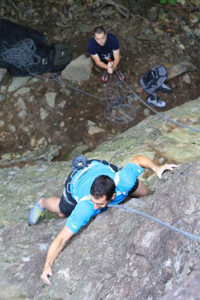 Rock Climbing Photo: Tim toproping WMD on his first day of climbing in ...
