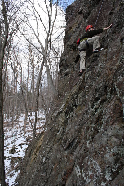 Jimmy toproping WMD, his first outdoor route.