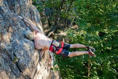 """Rock Climbing Photo: """"You should try my beta."""" Flagging on le..."""