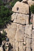 """Rock Climbing Photo: Ches Upham on P2 of """"Shark Ride"""" with Bi..."""