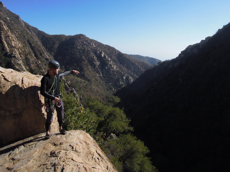 Rock Climbing Photo: The view down the canyon from Wall 3 Tower. (Note ...