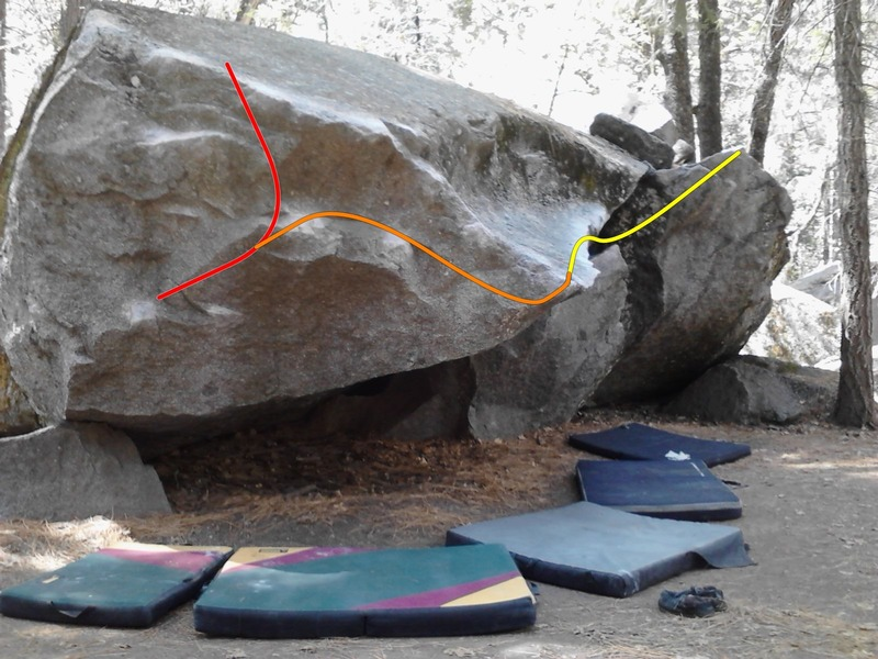Picture of Kevin's Traverse, Unnamed V3, and the v3 link up. Red is Unnamed V3, Yellow is Kevin's Traverse and the orange is a V3 link-up to Kevin's Traverse (if anyone knows the name it'd be much appreciated).