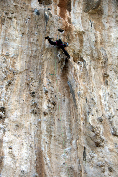 Rock Climbing Photo: Stemming the giant tufa fins up high. April 2014.