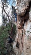 Rock Climbing Photo: Peter starting Over and Back. Eric W on belay
