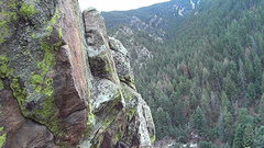 Rock Climbing Photo: View from ledge 20' from top