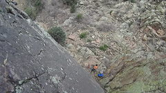 Fun friction climb for beginners on parking lot rock, Newlin Creek.  Decent belay stance at bottom.