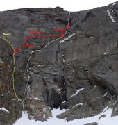 Rock Climbing Photo: The route in relationship to other climbs on the V...