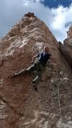 "Rock Climbing Photo: Eric thinking ""where was that right-hand hold..."