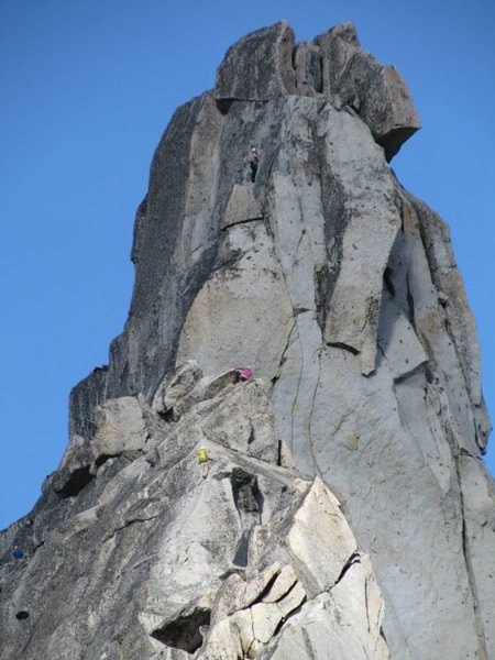 Rock Climbing Photo: Leading the final pitch to the Summit of Prusik Pe...