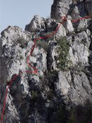 Rock Climbing Photo: second pitch, belay is on east facing side of rock...