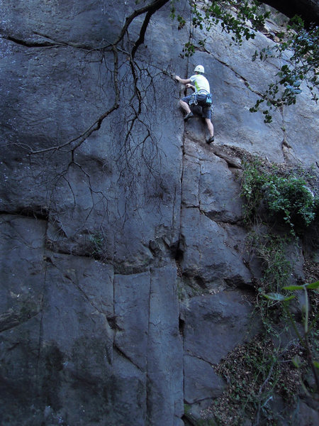 """Jan Roestel on the 2nd solo ascent of """"Ant Spasms"""" on the right side of Wall 5."""