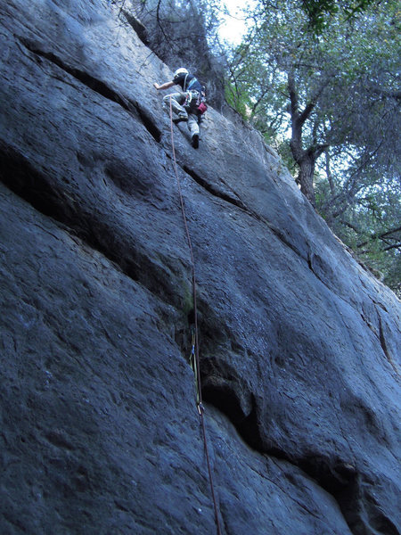 Rock Climbing Photo: Ches Upham hoping to find gear soon on the FA of t...