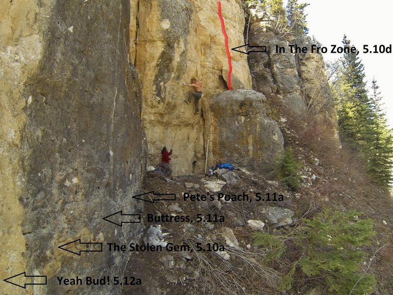 Ice Box Climbs that are to the right of the Flagship Wall and right on the road.<br> <br> From Left to Right:<br> <br> Yeah Bud!, 5.12a<br> <br> The Stolen Gem, 5.10a<br> <br> Buttress, 5.11a<br> <br> Pete's Poach, 5.11a<br> <br> Climber is on Goose Bump, 5.12d<br> <br> In The Fro Zone, 5.10d<br> <br> For a fun variation, stick clip the second bolt of Goose Bump, climb the layback crack to the right and work your way to In The Fro Zone. Call it &quot;Goose In The Zone&quot;