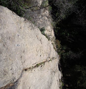 Rock Climbing Photo: The rap station on top of Wall 5 with the route &q...