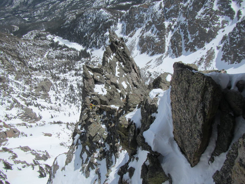 Chamonix or RMNP?  Martin moving across airy traverse.