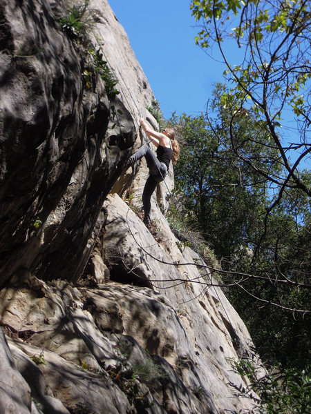 Rock Climbing Photo: Ming on her first go of the bulge crux.