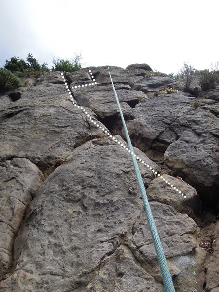 "Rock Climbing Photo: The two paths to finish ""Dancing Like a Nutte..."