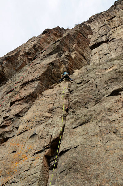 Rock Climbing Photo: Tim Gibson switching from trad to sport on Le Mond...
