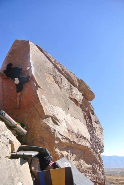 "Rock Climbing Photo: On ""Atari"" (V6; Happy Boulders, Bishop)"