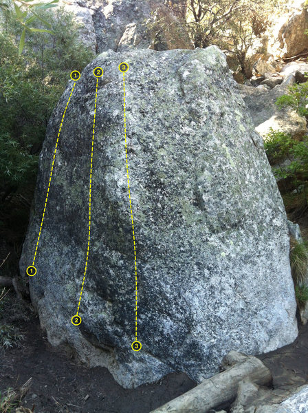 Some potential problems on the backside of the Cove Boulder. No guarantees.