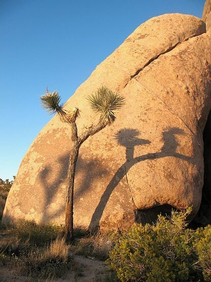 Late afternoon shadows at Skyscraper Rock, Joshua Tree NP